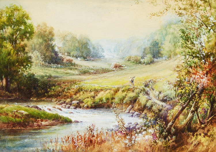 Artwork by Frederick Henry Brigden,  Bend in Don River Between Cummer and Finch - Richardson House in Background
