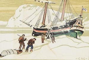 Artwork by Clarence Alphonse Gagnon, Schooner in Ice Floe