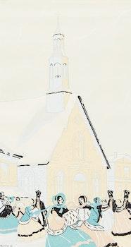 Artwork by Paul Archibald Caron, Old Bonsecours Church, 1845