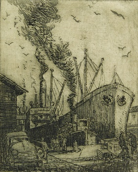 Artwork by Harry Draper  Wallace, Docks at Toronto