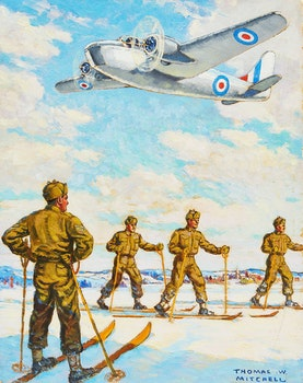 Artwork by Thomas Wilberforce Mitchell, Ski Patrol