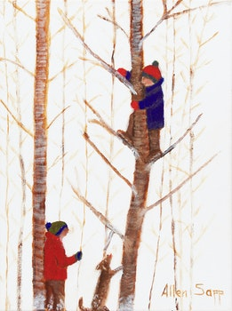 Artwork by Allen Sapp, Two Boys Playing in Trees