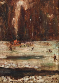 Artwork by William Gordon Griffiths, Skating Bonfire Scene
