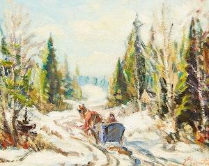 Artwork by Joseph Giunta, Winter in the Laurentians, Que.