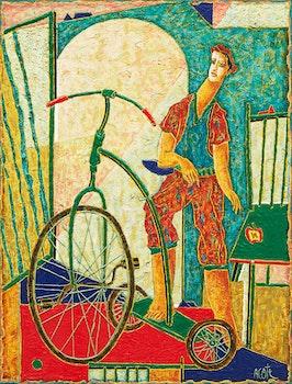 Artwork by Armand Côté, D'enfant au tricycle