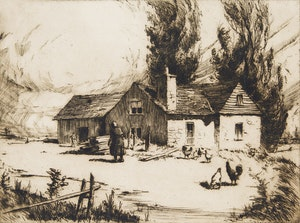 Artwork by Herbert Raine, La maison Pontneuf, St. Joachim, P.Q.