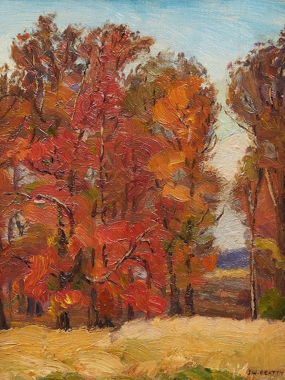 Artwork by John William Beatty,  Trees in Autumn
