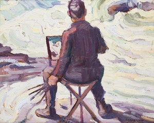 Artwork by Peter Clapham Sheppard, Painting Muskoka Rapids (Self Portrait)