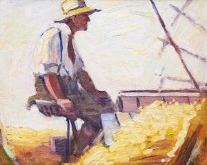 Artwork by Peter Clapham Sheppard, Wheat Threshing, Ontario