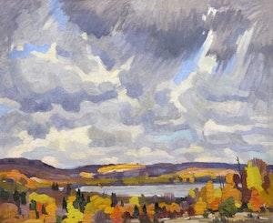 Artwork by Peter Clapham Sheppard, Autumn Skies, Lake of Bays