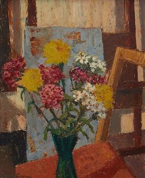 Artwork by Herdis Gelardi, Interior with Flowers