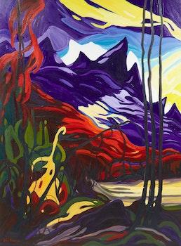 Artwork by Jean Fosbrooke, Mountain Landscape