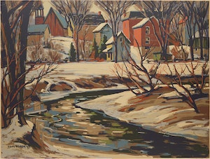 Artwork by Thomas Keith Roberts, Village in Winter