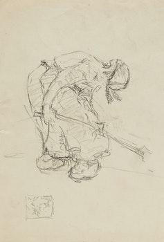 Artwork by Manly Edward MacDonald, Man Working; Women Working; Bridge on Skootamatta Westbrook