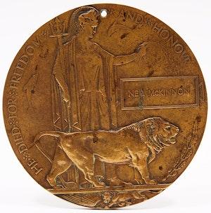 Artwork by Edward Carter Preston, World War I Commemorative Bronze Plaque ('Dead Man's Penny')