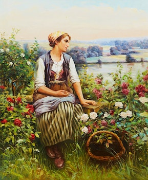 """Artwork by Frederick Bons, Girl on the Field (After Daniel Ridgway Knight """"Daydreaming"""")"""