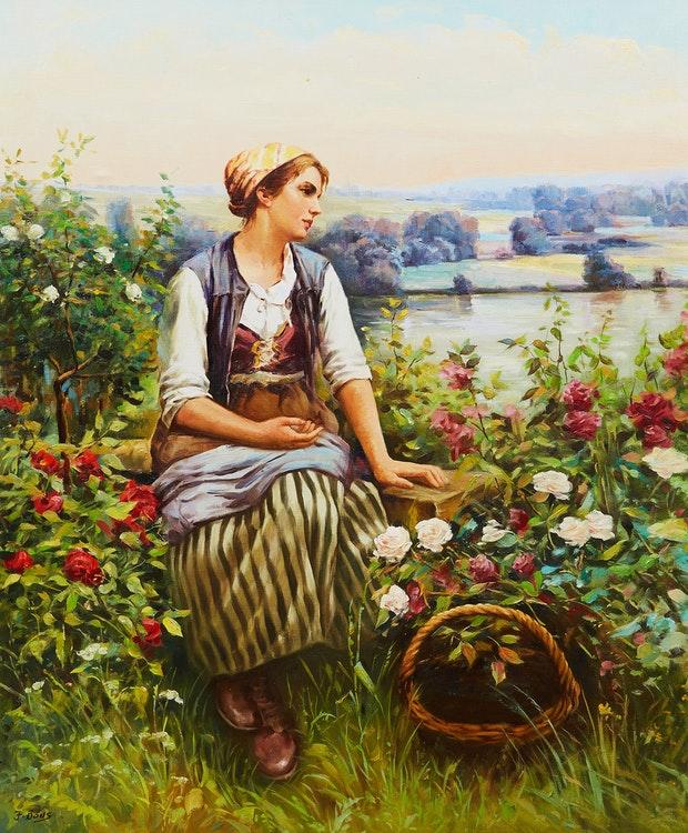 Artwork by Frederick Bons,  Girl on the Field (After Daniel Ridgway Knight