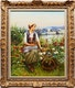 Thumbnail of Artwork by Frederick Bons,  Girl on the Field (After Daniel Ridgway Knight