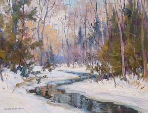 Artwork by Manly Edward MacDonald, Winter Landscape with River