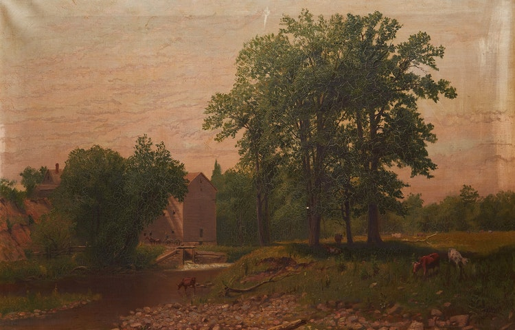 Artwork by Thomas Mower Martin,  Cattle Watering by the Stream