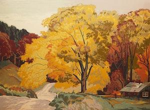 Artwork by Joachim George Gauthier, Autumn Road, Haliburton
