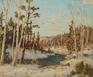 Artwork by Otto Planding, Silver Birches in Winter, Wye River; Pickerel River
