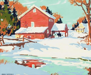Artwork by Manly Edward MacDonald, The Red Barn in Winter