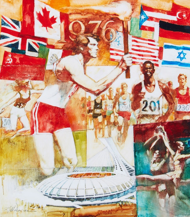 Artwork by Will Davies,  1976 Summer Olympics Illustration
