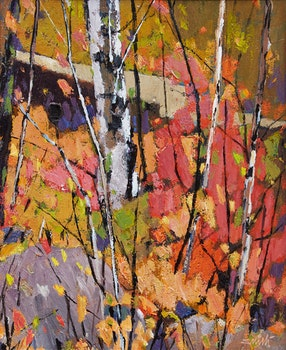 Artwork by Donald Appelbe Smith, Two Works: Muskoka Scarlet and Gold; Untitled Landscape
