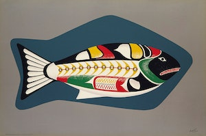 Artwork by Arthur Donald Price, Nootka King Salmon; Soapstone Carving of a Loon