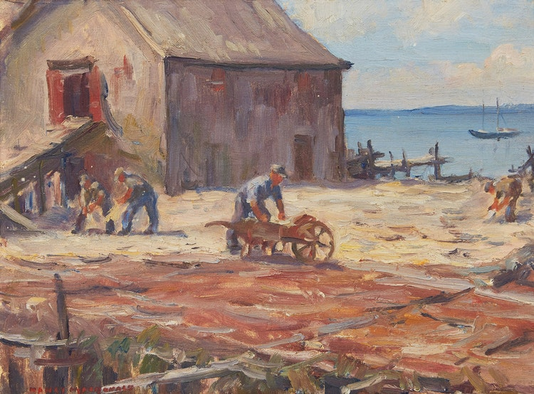 Artwork by Manly Edward MacDonald,  Workers and Storehouse before Shoreline
