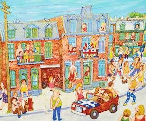 Artwork by  Various Artists, Ou fête la Saint-Jean et Montréal aussi; Place Jacques-Cartier; Montreal, 1943; Rue Cherrier, ou je suis né