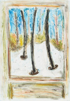 Artwork by Arnold Shives, Snow & Pines, Through the Cabin Window I; Dundarave Revisited
