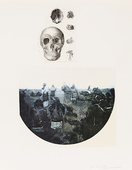 Artwork by Carl Beam, Skull; Men and Whales