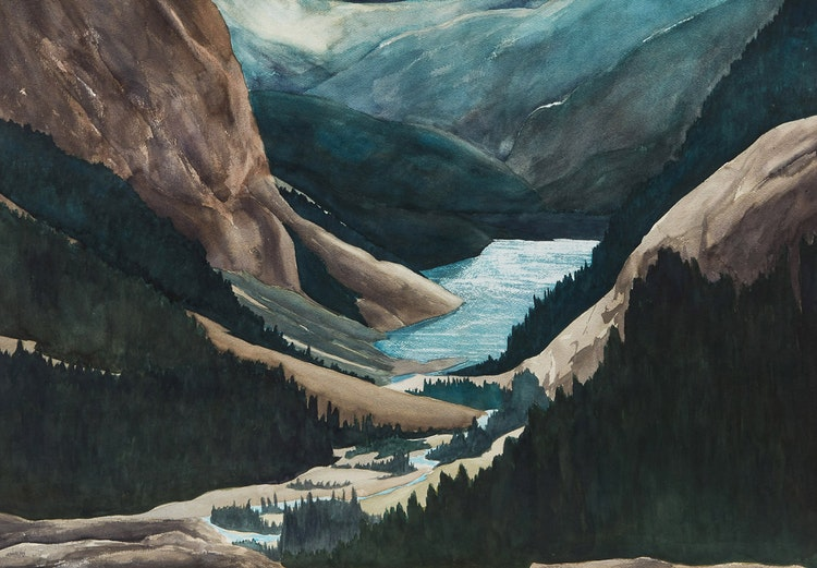 Artwork by John Doyle,  Rocky Mountain Valley