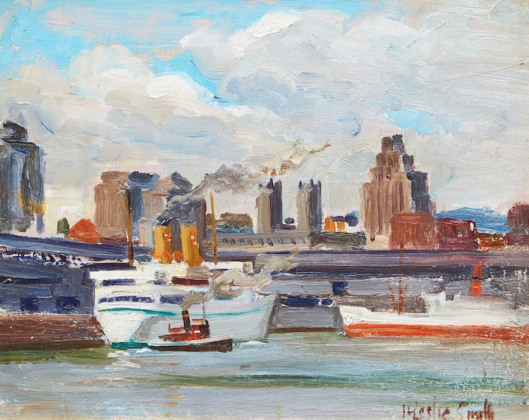 Artwork by Harry Leslie Smith,  Montreal Harbour