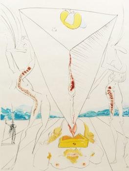 Artwork by Salvador Dalí, Philosophe écrasé par le cosmos (from La Conquête du Cosmos) (Michler/Löpsinger 642)