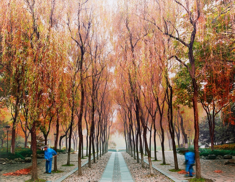 Artwork by David Burdeny,  Sweepers, West Lake, Hangzhou, China