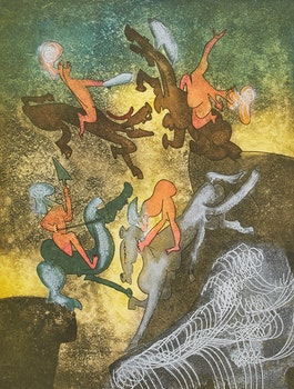 Artwork by Roberto Matta, Hon'mère, Chaosmos (Planche 5)