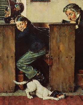 Artwork by Norman Percevel Rockwell, From the Tom Sawyer Portfolio: Dog and Beetle; The Medicine; Dead Cat; The Caning (4)