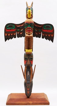 Artwork by Aubrey Johnson, Orca and Eagle Totem