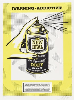 Artwork by Shepard Fairey, Warning Addictive!
