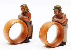 Artwork by Attribued to Paul Caron, Two Napkin Rings: Man and Woman