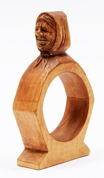 Artwork by Andre Bourgault, Napkin Ring with Head of Woman