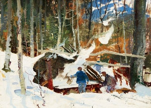 Artwork by George Franklin Arbuckle, Sugaring (Sugar Making, St. Sauveur, PQ)
