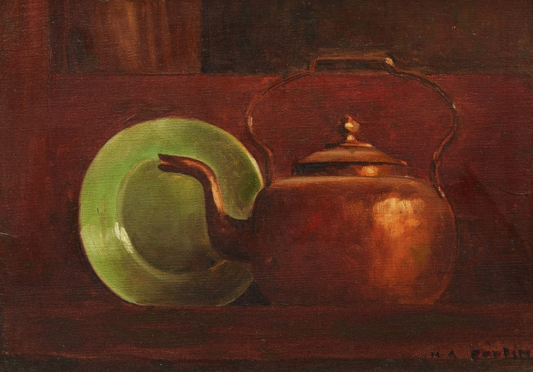 Artwork by Marc-Aurèle Fortin,  Copper Kettle with Green Plate