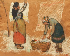 Artwork by Clarence Alphonse Gagnon, Les Blanchisseuses, Charlevoix (vers 1925)
