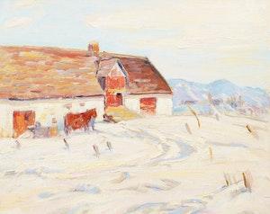 Artwork by George Paginton, Barn in Winter (Sainte Famille, Île d'Orléans)