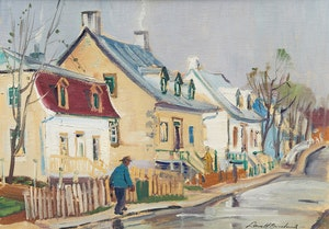 Artwork by George Lorne Holland Bouchard, Wet Evening, St. Jean, Isle of Orleans