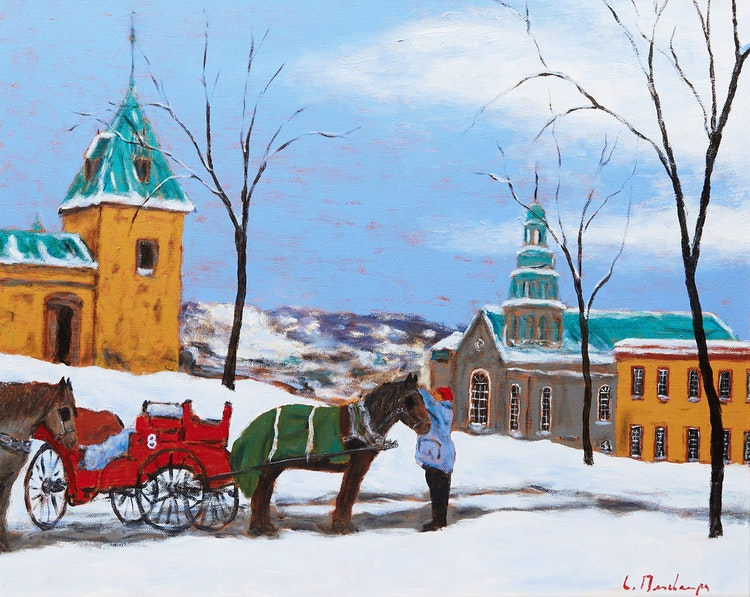 Artwork by Luc Deschamps,  Getting the Horses Ready, QC